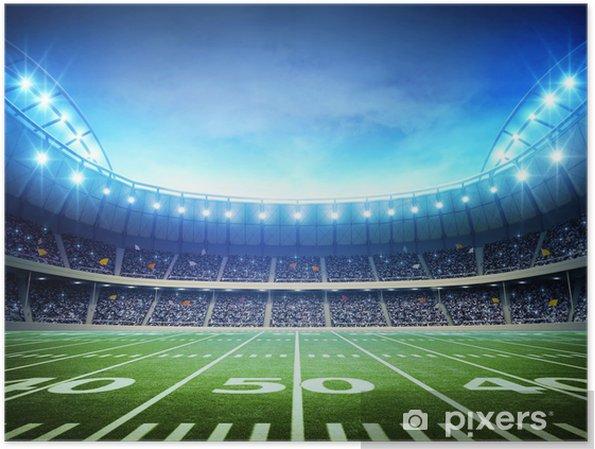 Poster Licht van de Amerikaanse stadion - American Football