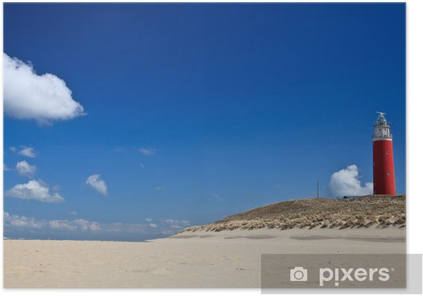 Lighthouse in the dunes at the beach Poster - Lighthouse
