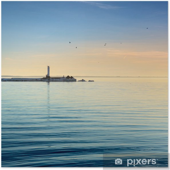 lighthouse in the sea at the colorful sunset Poster - Infrastructure
