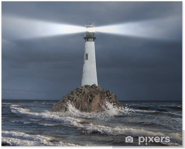 Lighthouse with a beam of light Poster - Lighthouse