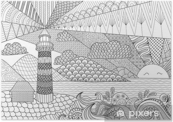 Coloriage Adulte Batiments.Poster Ligne Seascape Conception D Art Pour Le Livre De Coloriage