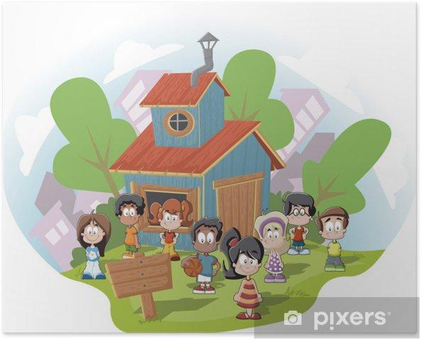 Poster Lindos Ninos Felices De Dibujos Animados En Frente De La Casa