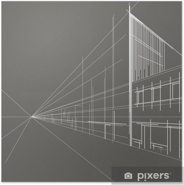 Poster Linéaire rue perspective croquis architectural fond gris ...