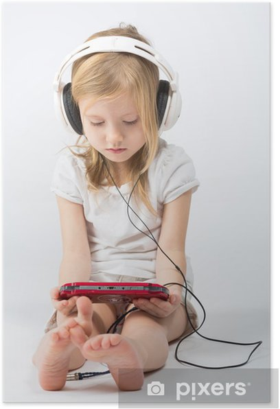 Little girl with headphones playing gaming device Poster - Children
