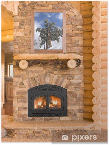 Póster Log Cabin Interior de la casa con la chimenea caliente con la madera, llamas, un - Celebraciones internacionales
