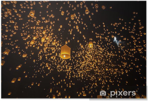 Poster Loi Krathong et Yi Peng Festival, Chiangmai, Thaïlande - Asie