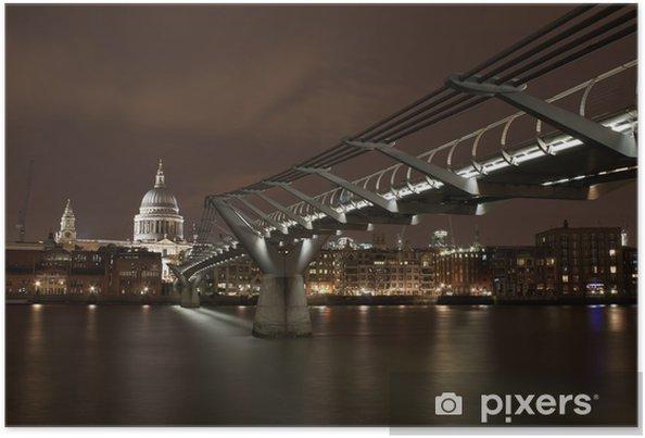 Poster Londen rivier scène bij nacht - Europese steden