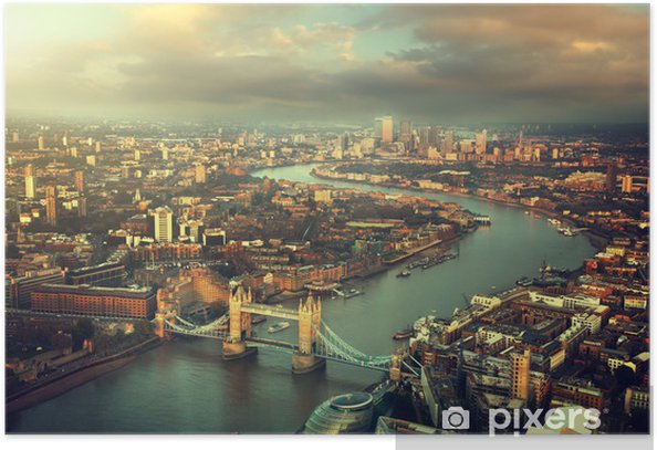 London aerial view with Tower Bridge in sunset time Poster - Themes