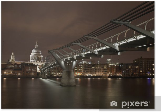 London river scene by night Poster - European Cities