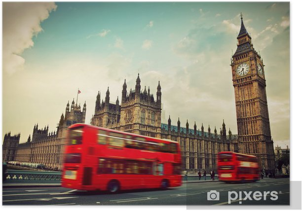 London, the UK. Red bus in motion and Big Ben Poster - Themes