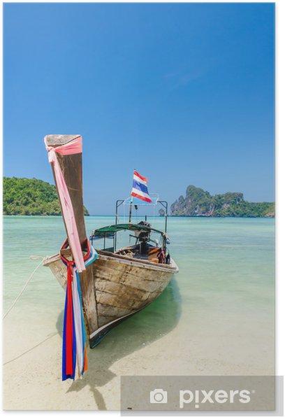 Poster Long tail boat à l'île de Phi Phi, en Thaïlande - Asie
