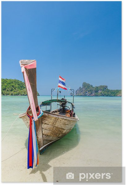 Long-tail boat at Phi Phi island, Thailand Poster - Asia