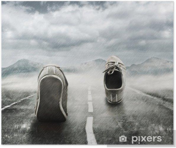 Poster Lopen in de regen - Andere Gevoelens