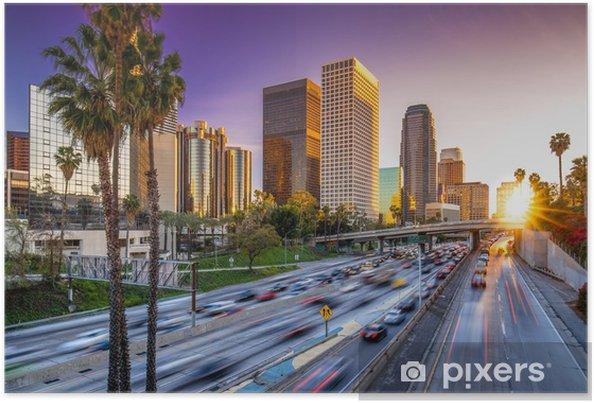 Poster Los Angeles centre-ville skyline bâtiments coucher autoroute - Villes américaines