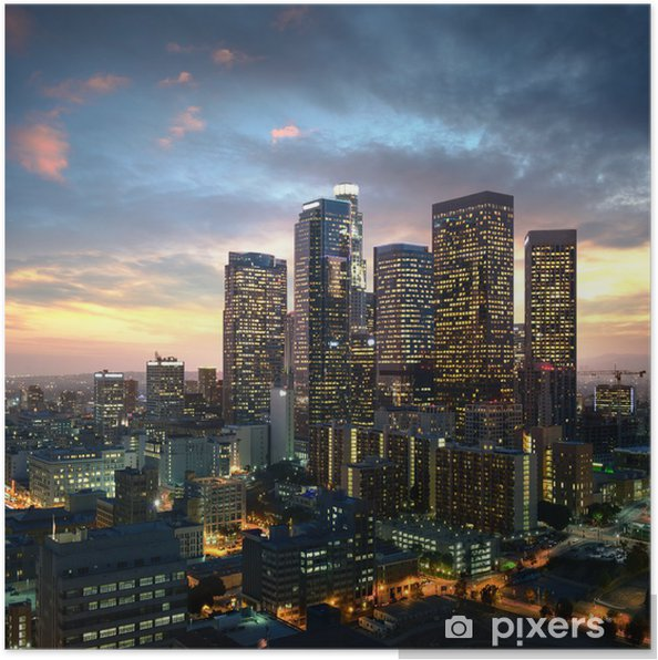 Poster Los Angeles du centre-ville au coucher du soleil, en Californie -