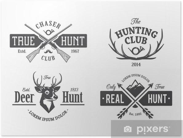 Póster Los emblemas de la caza de la vendimia - Texturas