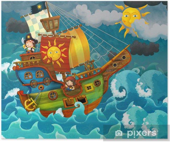 Póster Los piratas en el mar - ilustración para los niños -
