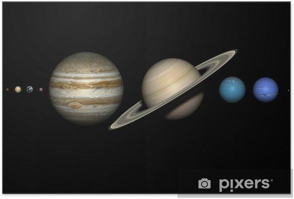 Póster Los planetas del sistema solar con tamaños relativos correctos. - Planetas