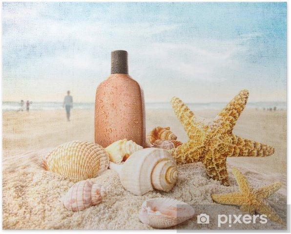 Poster Lotion de bronzage et de coquillages sur la plage - Vacances