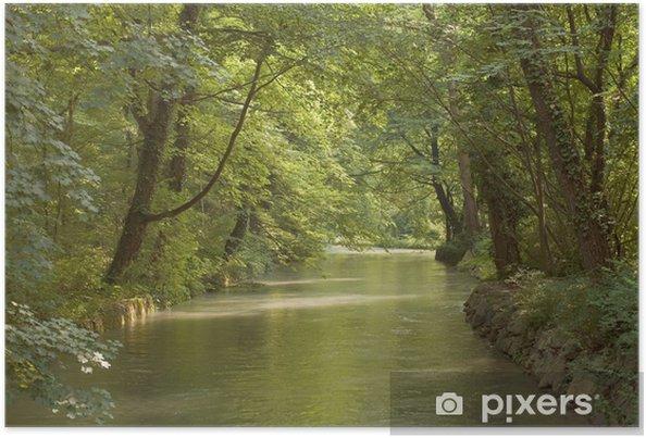Poster Low Light sur bois et ruisseau - Saisons