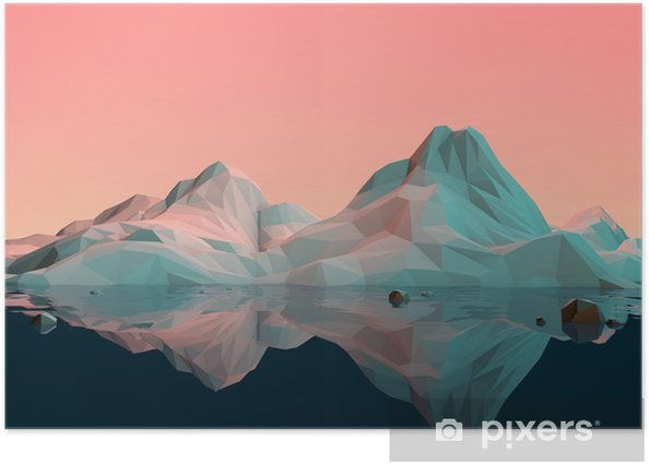 Low-Poly 3D Mountain Landscape with Water and Reflection Poster - Sports