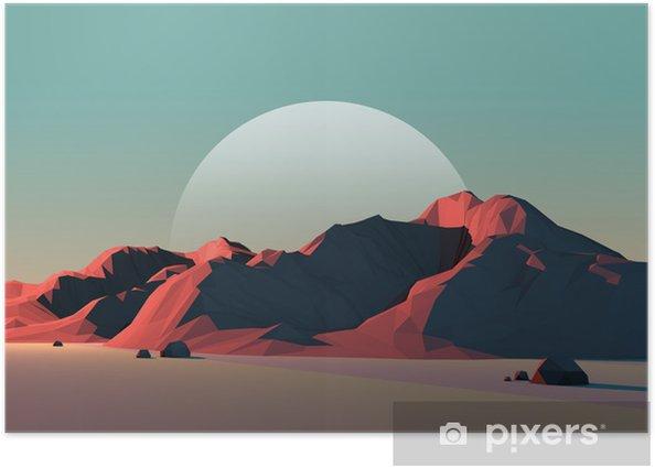 Poster Low-Poly Paysage de montagne au crépuscule avec la Lune - Merveilles naturelles