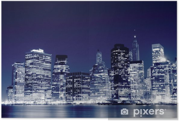 Poster Lower Manhattan horisont på natten, New York City -