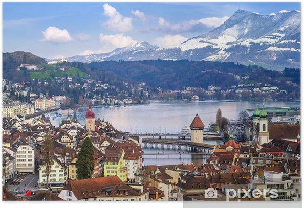 Poster Lucerne, Suisse, vue aérienne de la ville ancienne, lac et montagne Rigi - Villes européennes