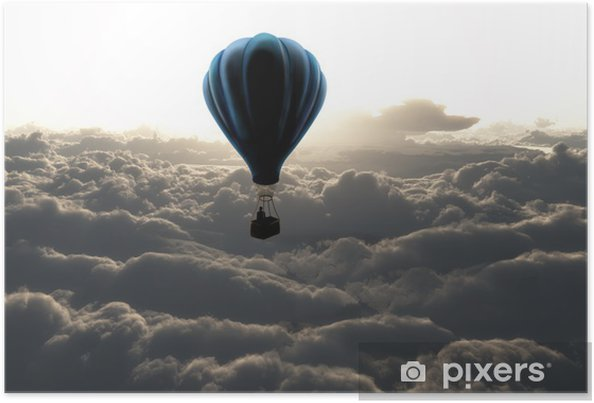 Poster Luchtballon boven de wolken - Stijlen