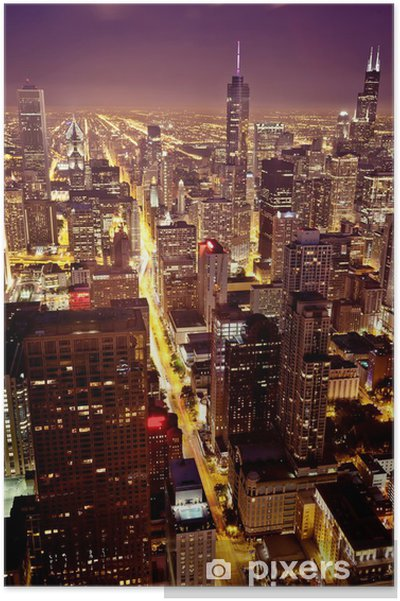 Poster Luchtfoto van Chicago - Thema's