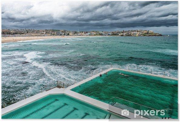 Poster Luchtfoto van Sydney Bondi Beach Pools - Industriële en Commerciële Gebouwen