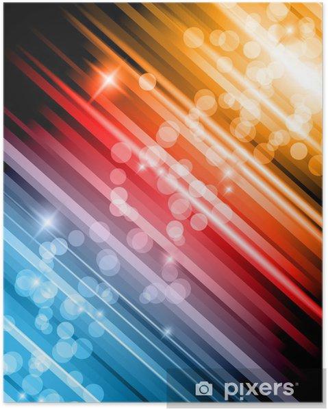 Poster Lueur abstraite de lumières arrière-plan avec des couleurs arc-en- - Signes et symboles