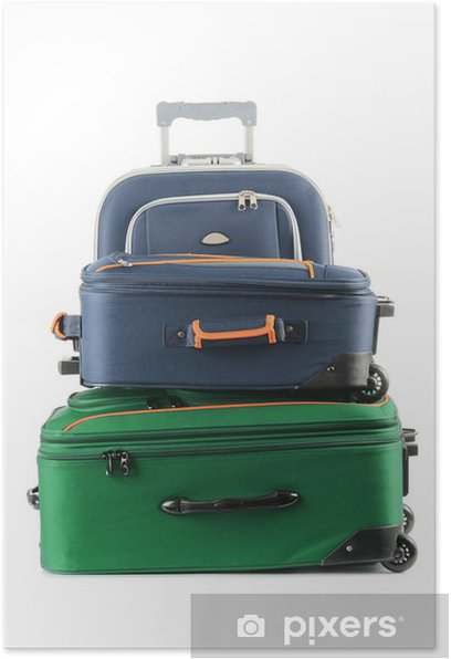 Luggage consisting of large suitcases isolated on white Poster - Holidays