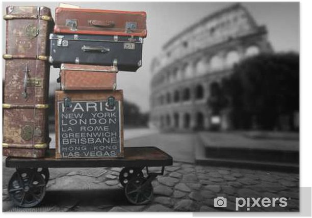 Luggage tourists with big suitcases on a cart Poster - Travel