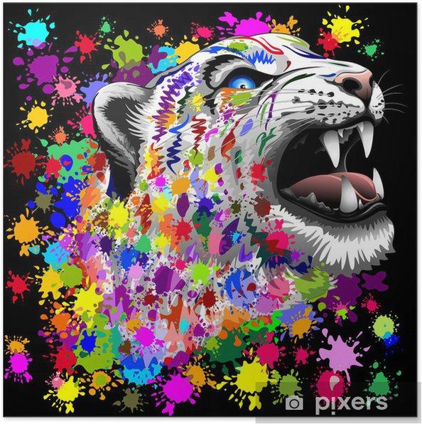 Poster Luipaard Psychedelic verf markeringen - Zoogdieren