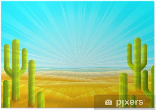 Poster Lumineux paysages de désert de sable avec plusieurs vert cactus - Désert