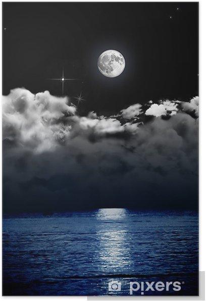Luna Piena Con Nuvole Sul Mare Poster Pixers We Live To Change