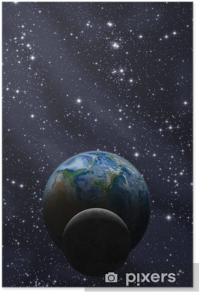 Poster Lune et la Terre avec la Voie Lactée - Espace