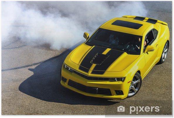 Poster Luxe gele sportwagen - Onderweg