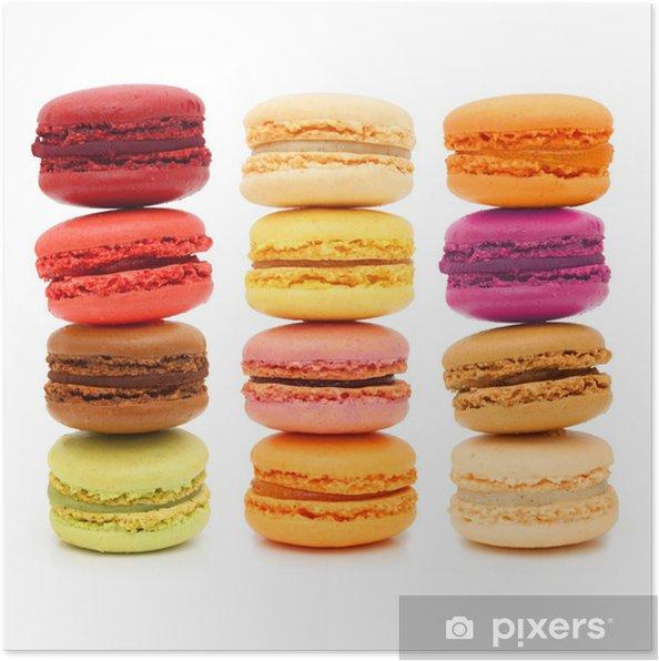 Poster Macarons - pâtisseries françaises - Desserts et friandises
