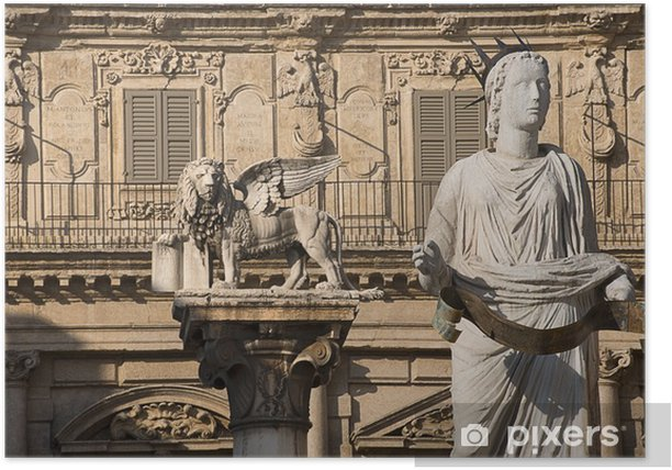 Madonna Verona and Lion of St. Marco - Veneto Italy Poster - Europe