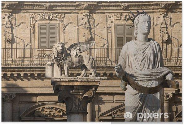 Póster Madonna Verona y León de San Marcos - Veneto Italia - Europa