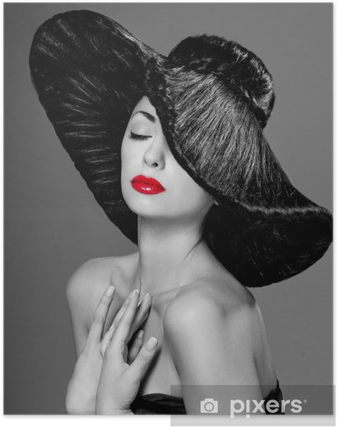 magnificent woman in a hat Poster - Fashion