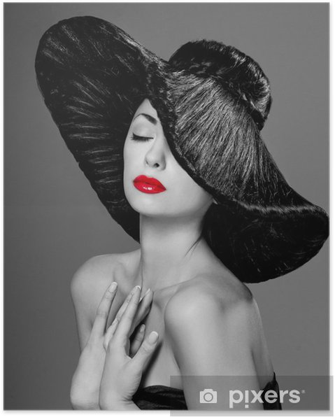 Poster Magnifika kvinna i en hatt - Mode