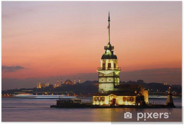 Poster Maiden's Tower (Kiz Kulesi). Istanbul, Turkije - Midden Oosten