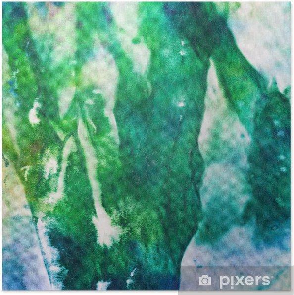Poster Main abstraite peinte batik noueuse vert et bleu - Style de vie