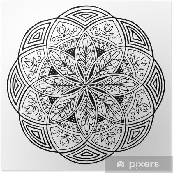 Coloriage Mandala Rond.Poster Main Dessin Mandala Ornement Rond Floral Motif Pour Livre