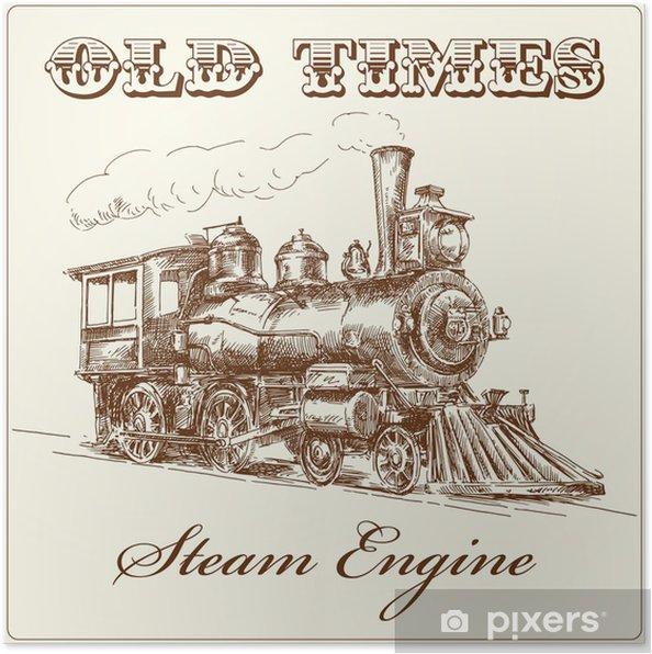 Poster Main locomotive à vapeur tiré - Chemin de fer