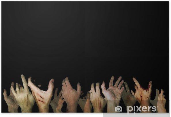 Poster Mains de Zombie atteignant dans l'obscurité - Thèmes