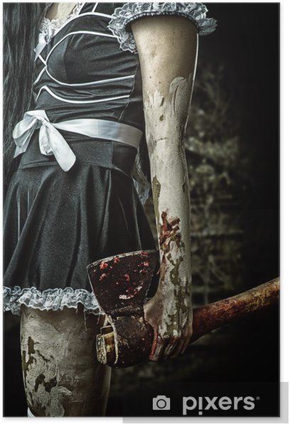 Poster Mal femme tenant une hache sanglante - Thèmes